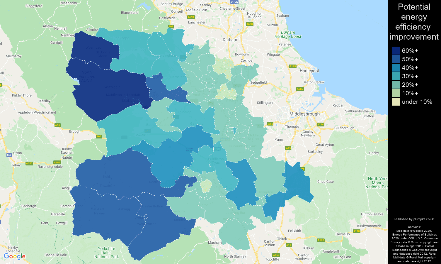 Darlington map of potential energy efficiency improvement of houses