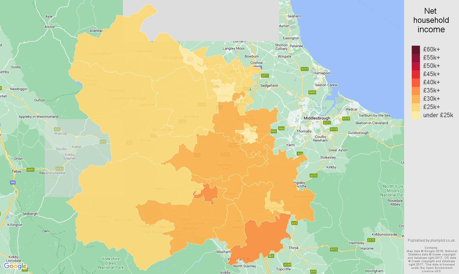 Darlington net household income map