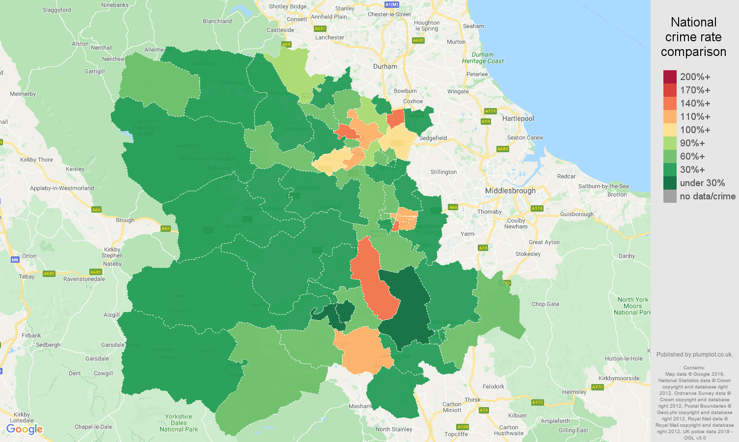 Darlington other theft crime rate comparison map