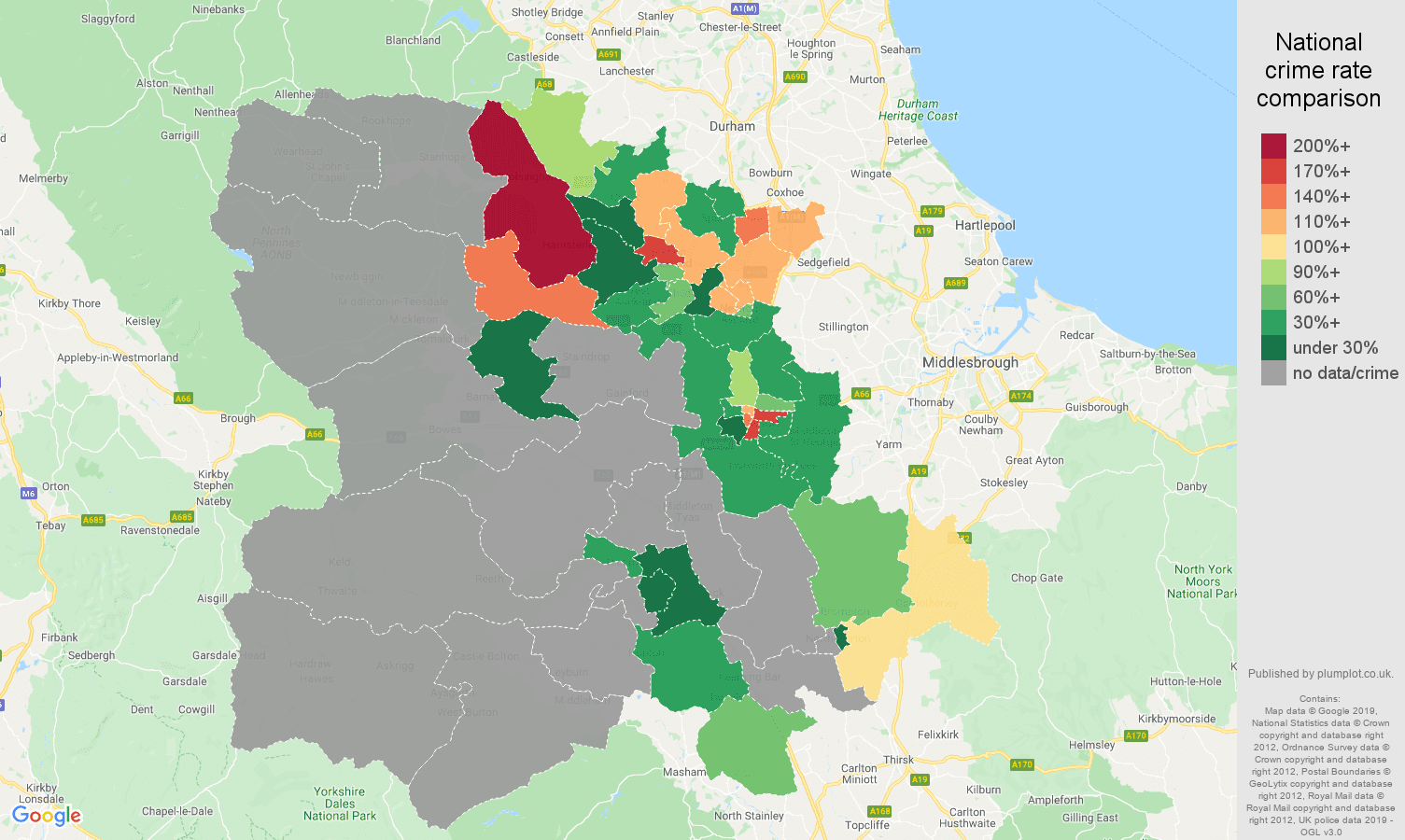 Darlington possession of weapons crime rate comparison map