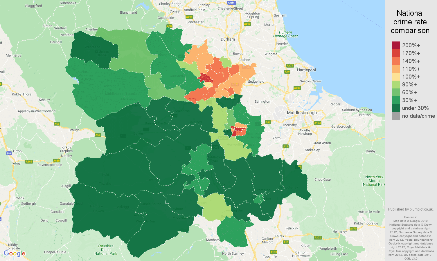Darlington public order crime rate comparison map