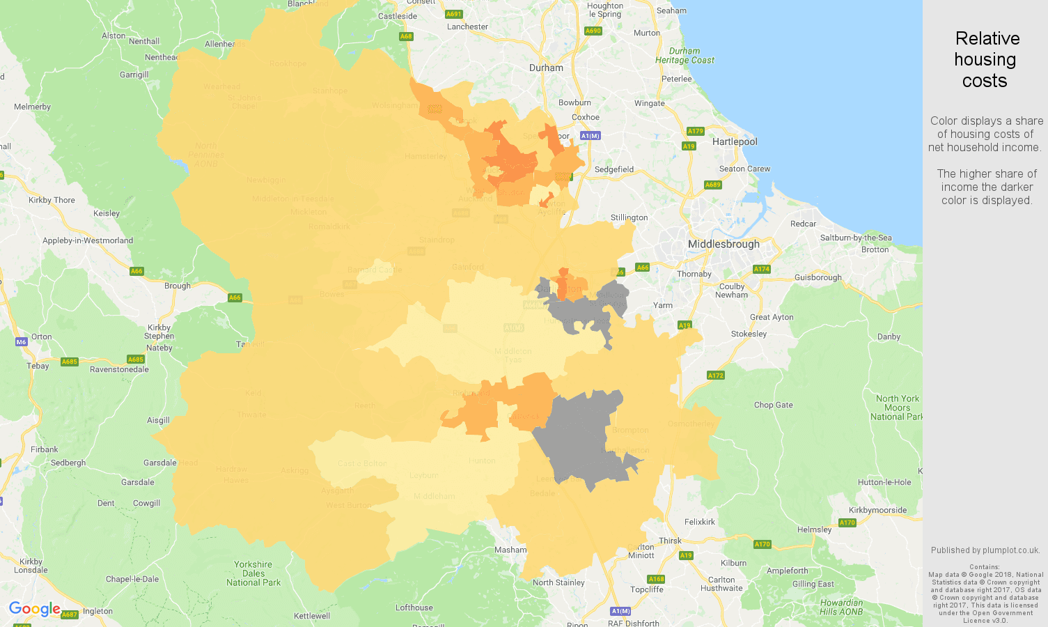 Darlington relative housing costs map