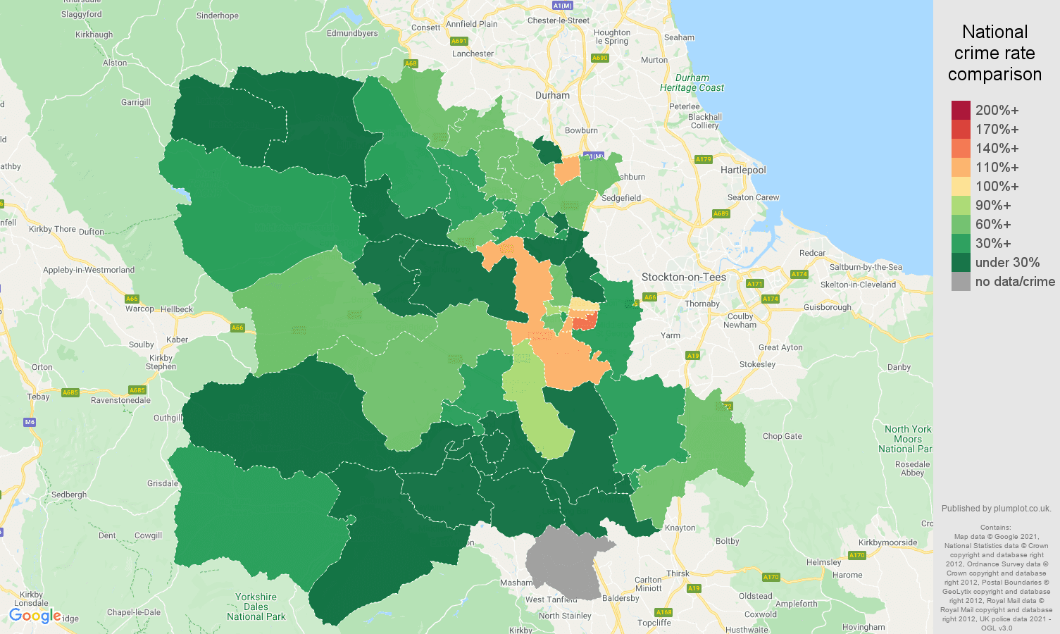 Darlington vehicle crime rate comparison map