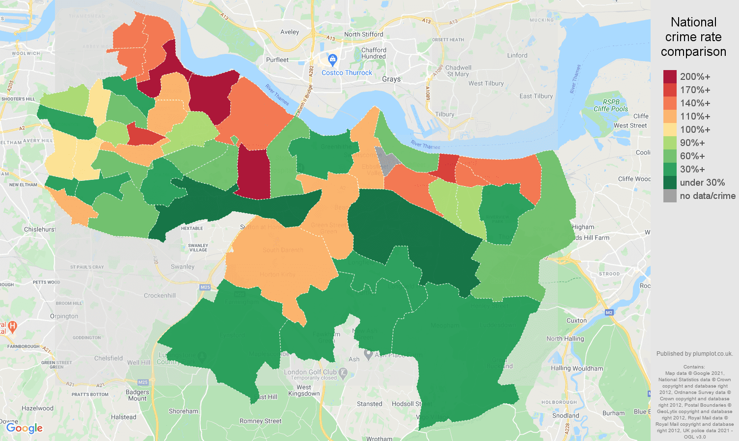 Dartford drugs crime rate comparison map