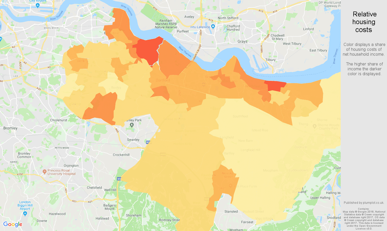 Dartford relative housing costs map