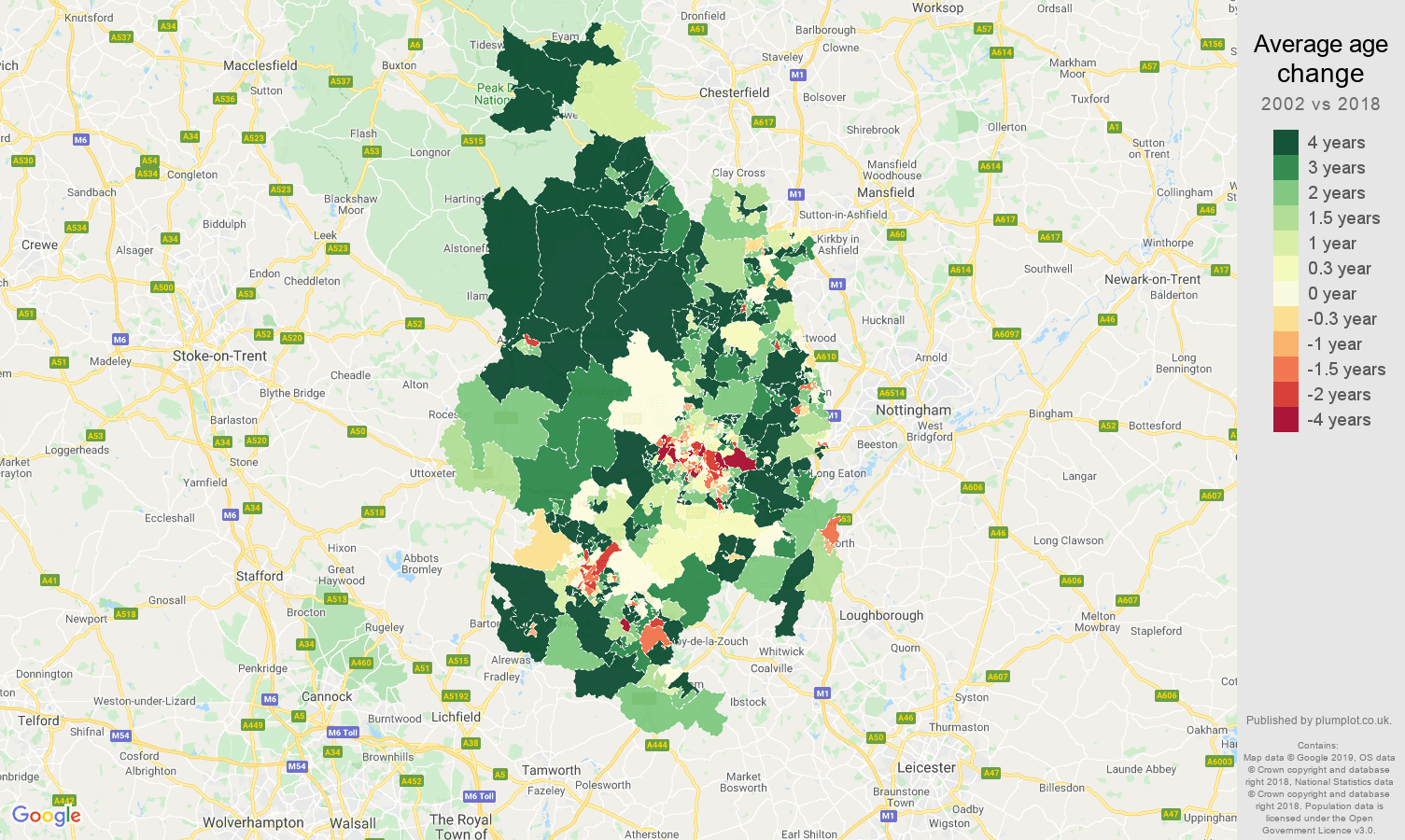 Derby average age change map