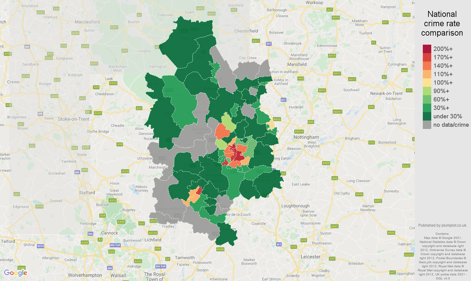 Derby bicycle theft crime rate comparison map