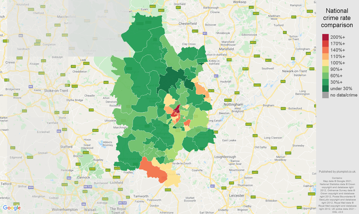 Derby burglary crime rate comparison map
