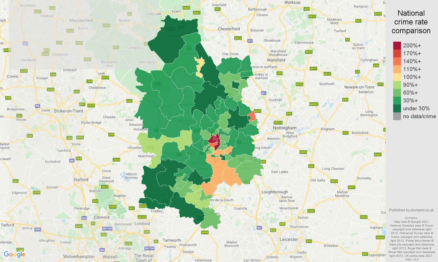 Derby drugs crime rate comparison map