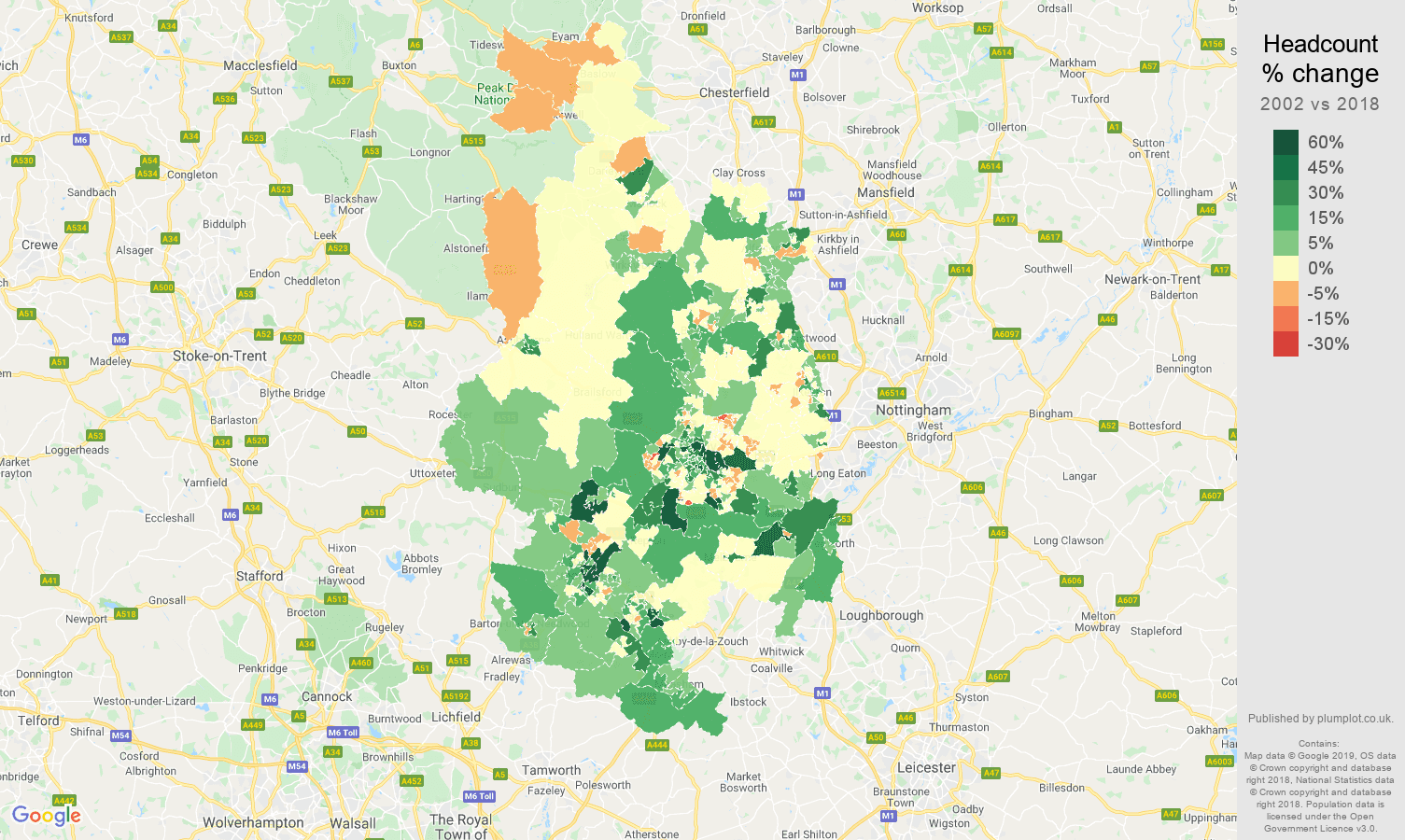 Derby headcount change map