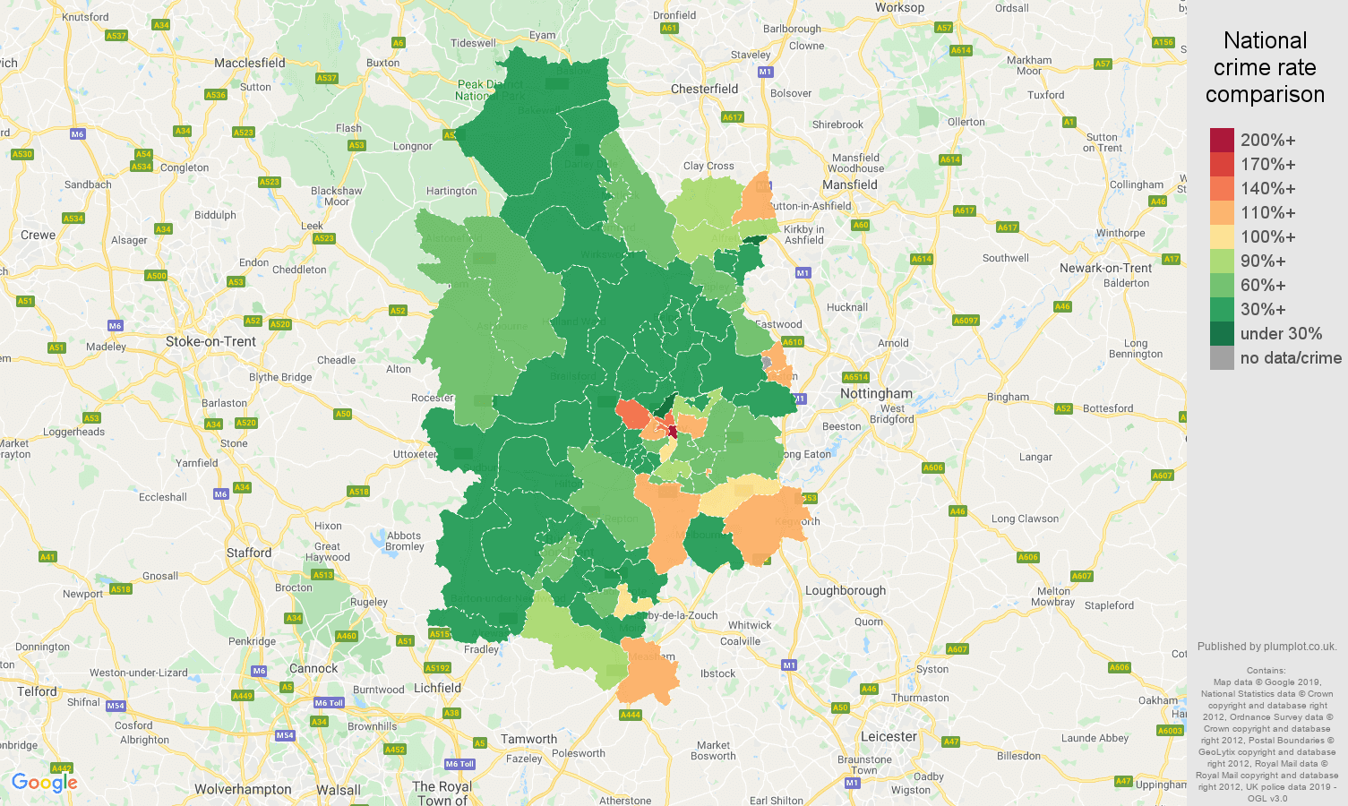 Derby other theft crime rate comparison map