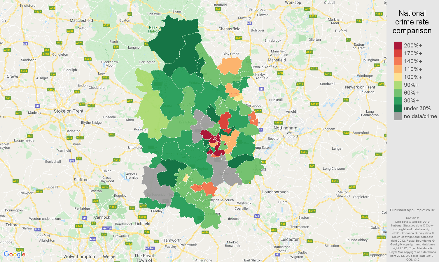 Derby possession of weapons crime rate comparison map
