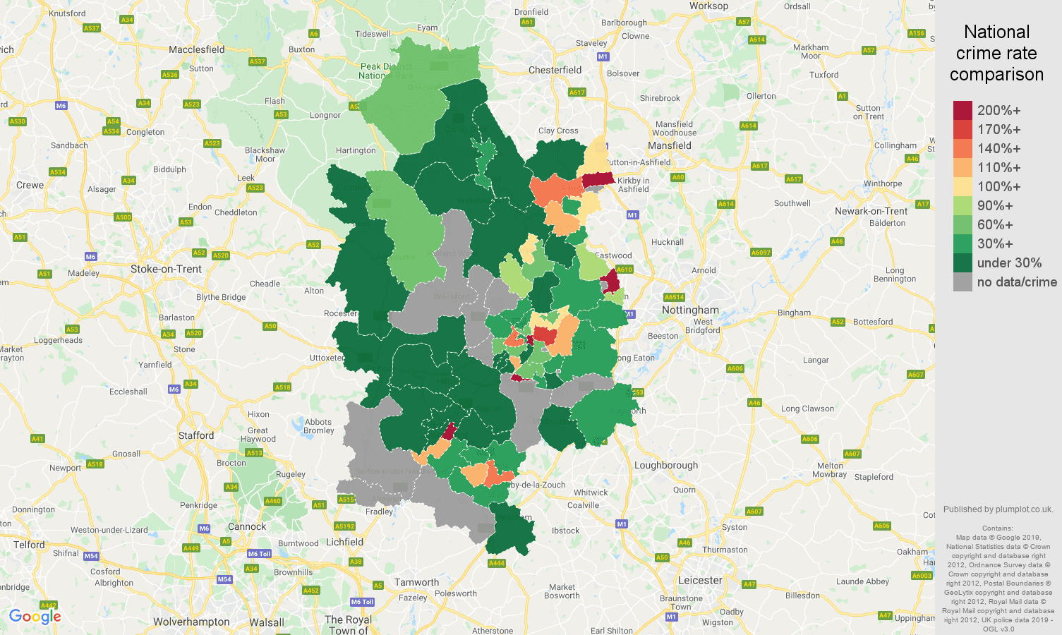 Derby shoplifting crime rate comparison map