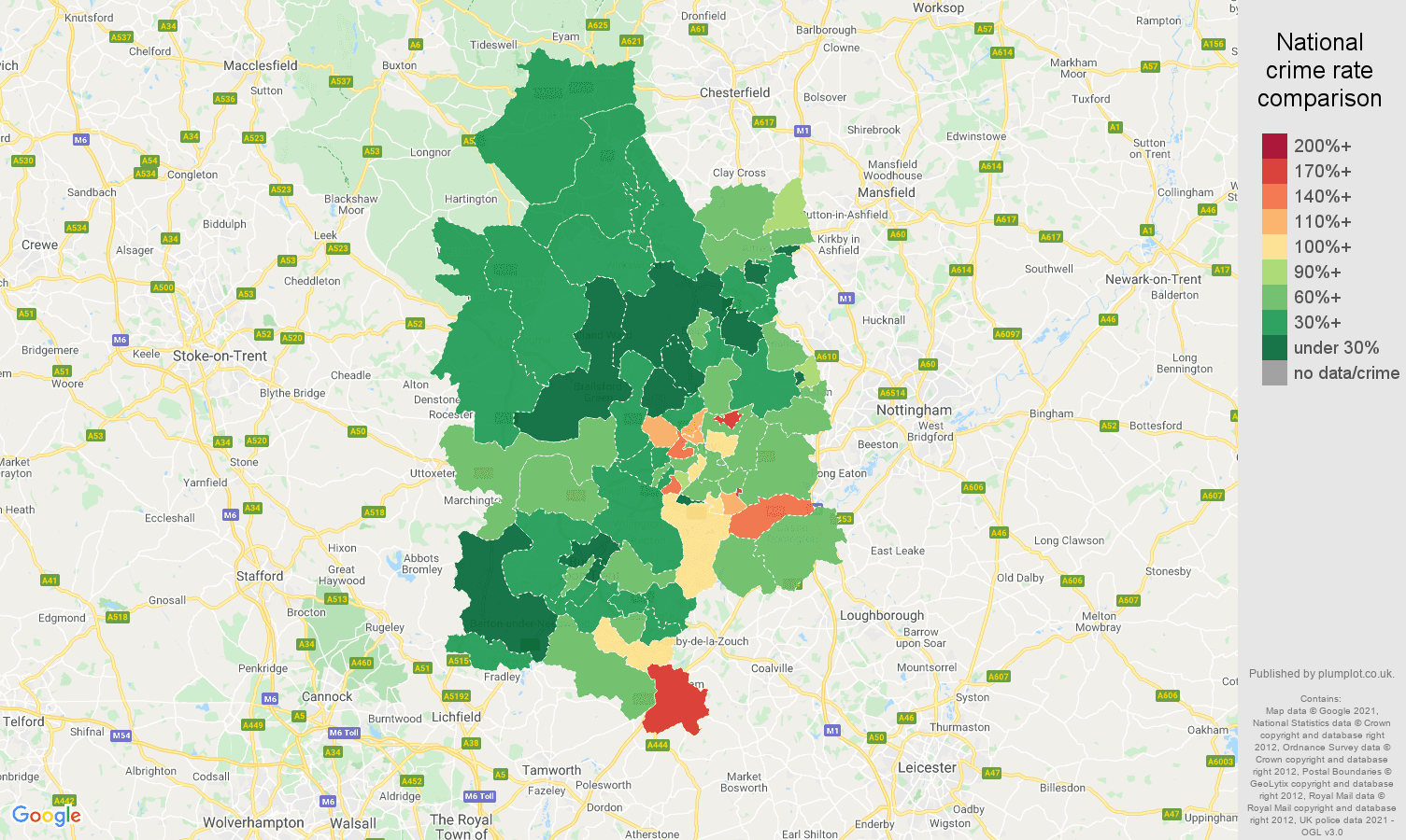 Derby vehicle crime rate comparison map