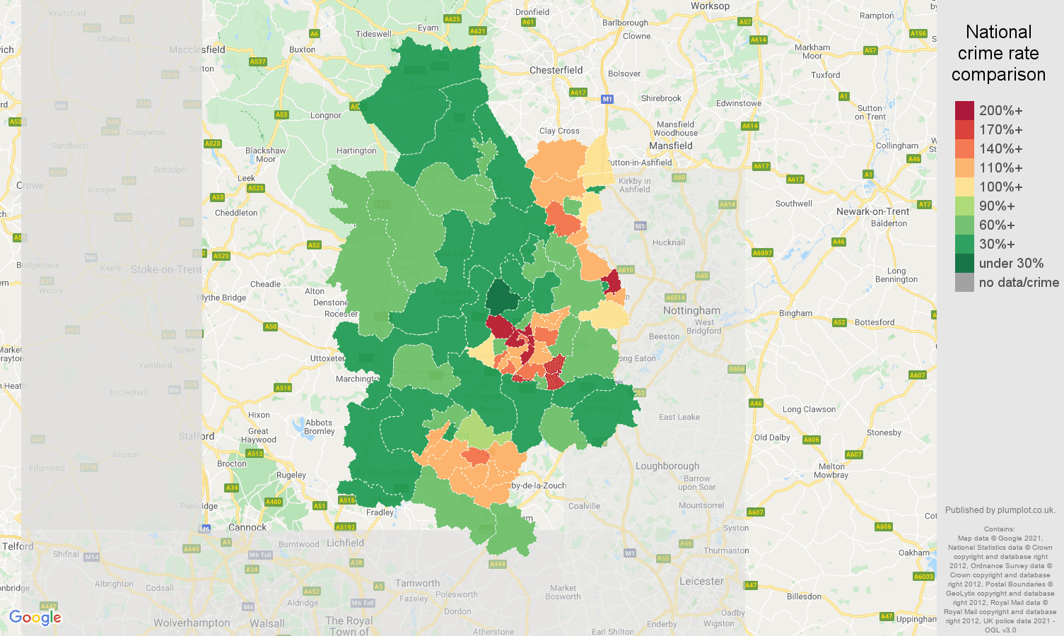 Derby violent crime rate comparison map