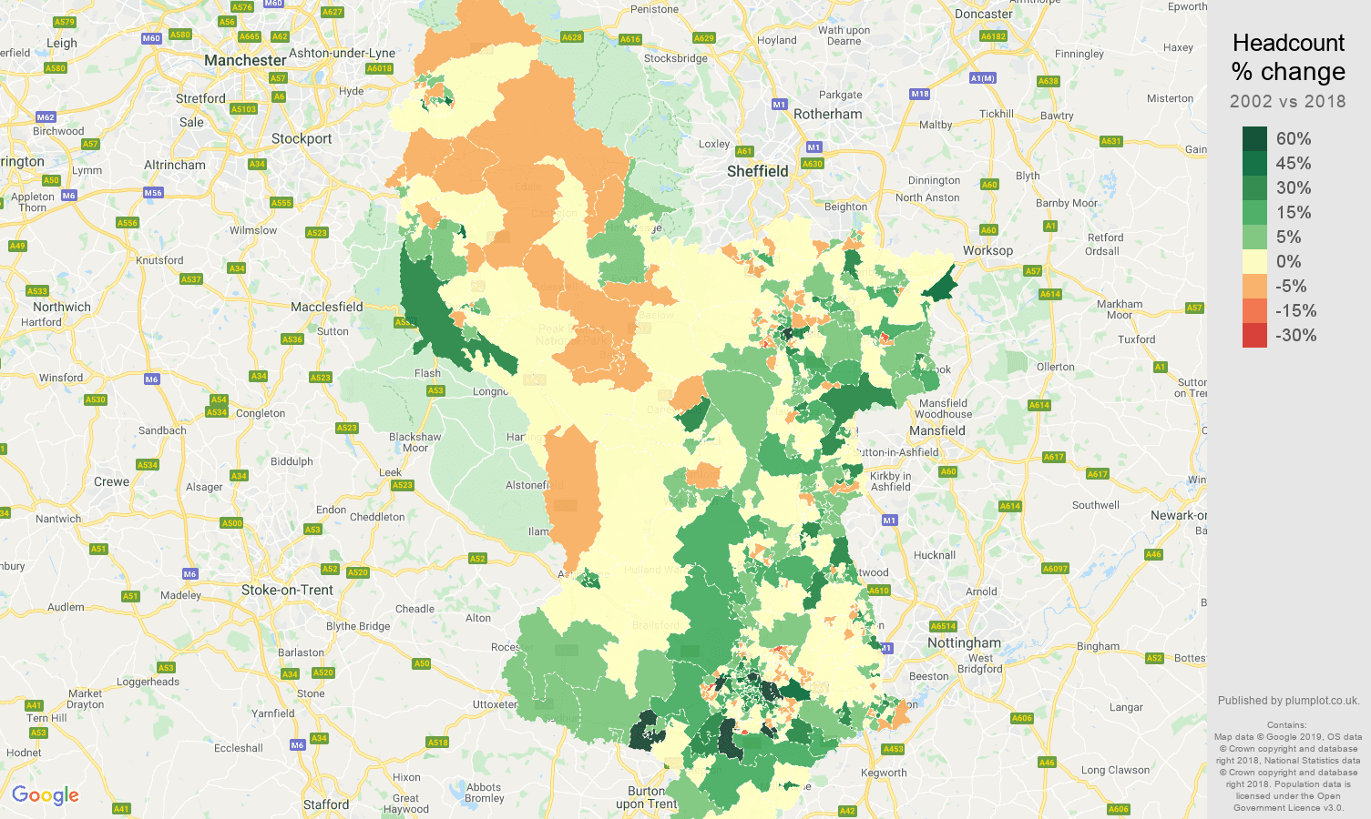 Derbyshire headcount change map