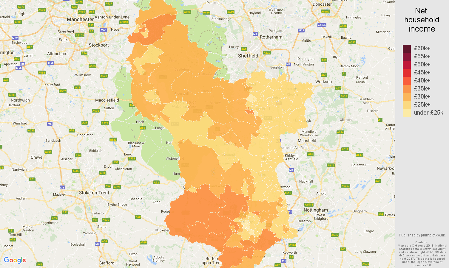 Derbyshire net household income map