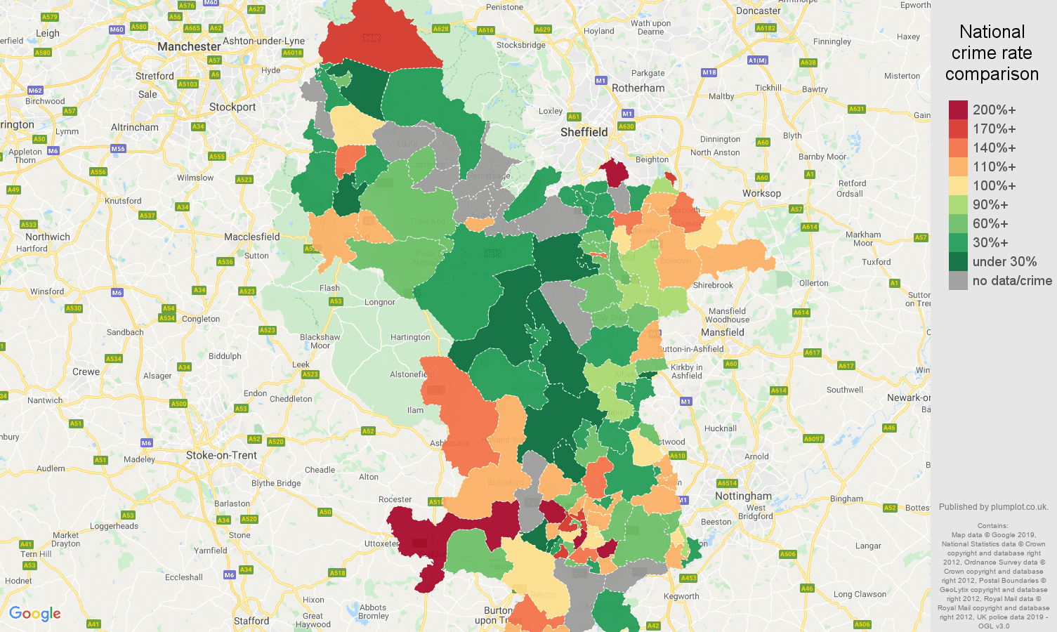 Derbyshire other crime rate comparison map