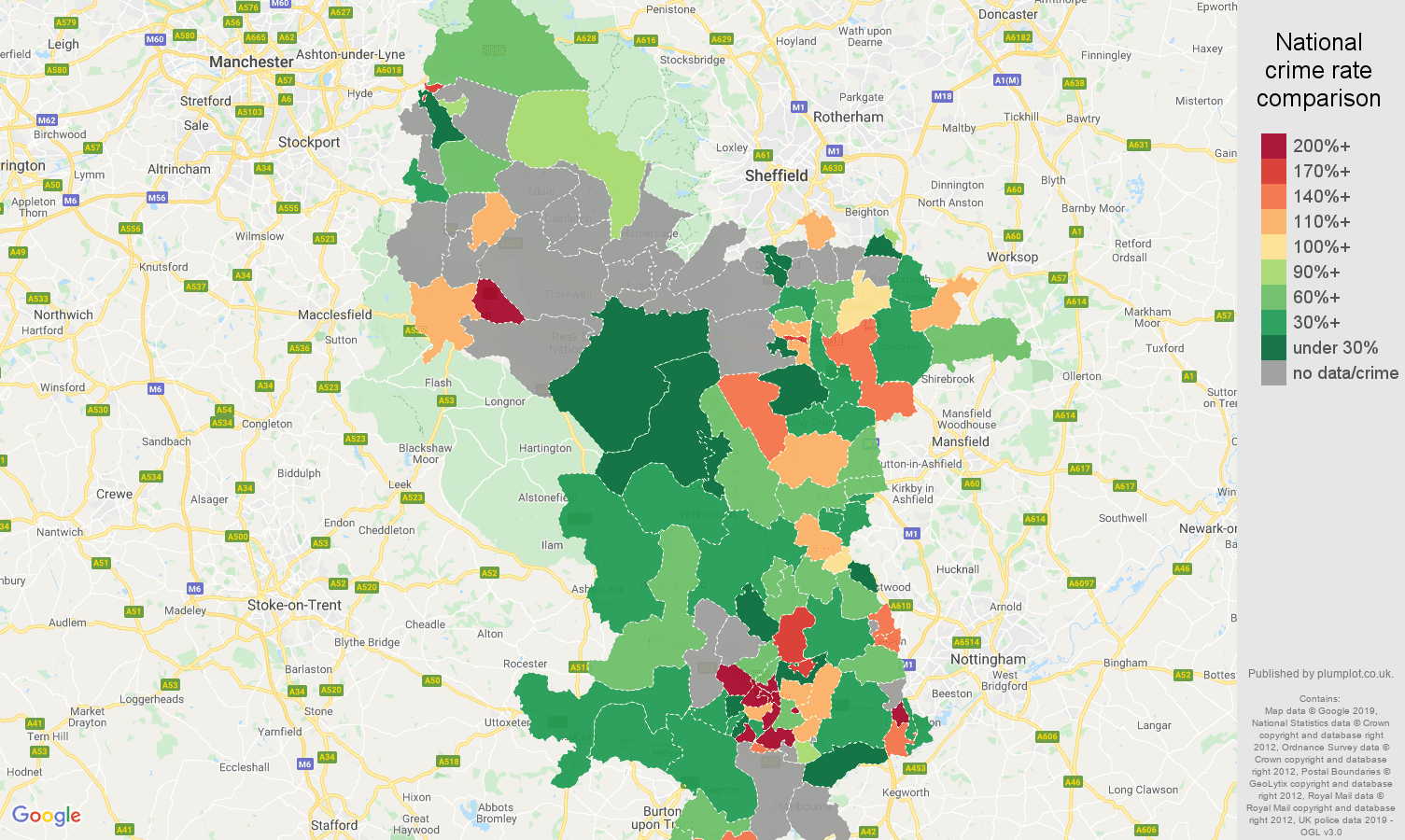 Derbyshire possession of weapons crime rate comparison map