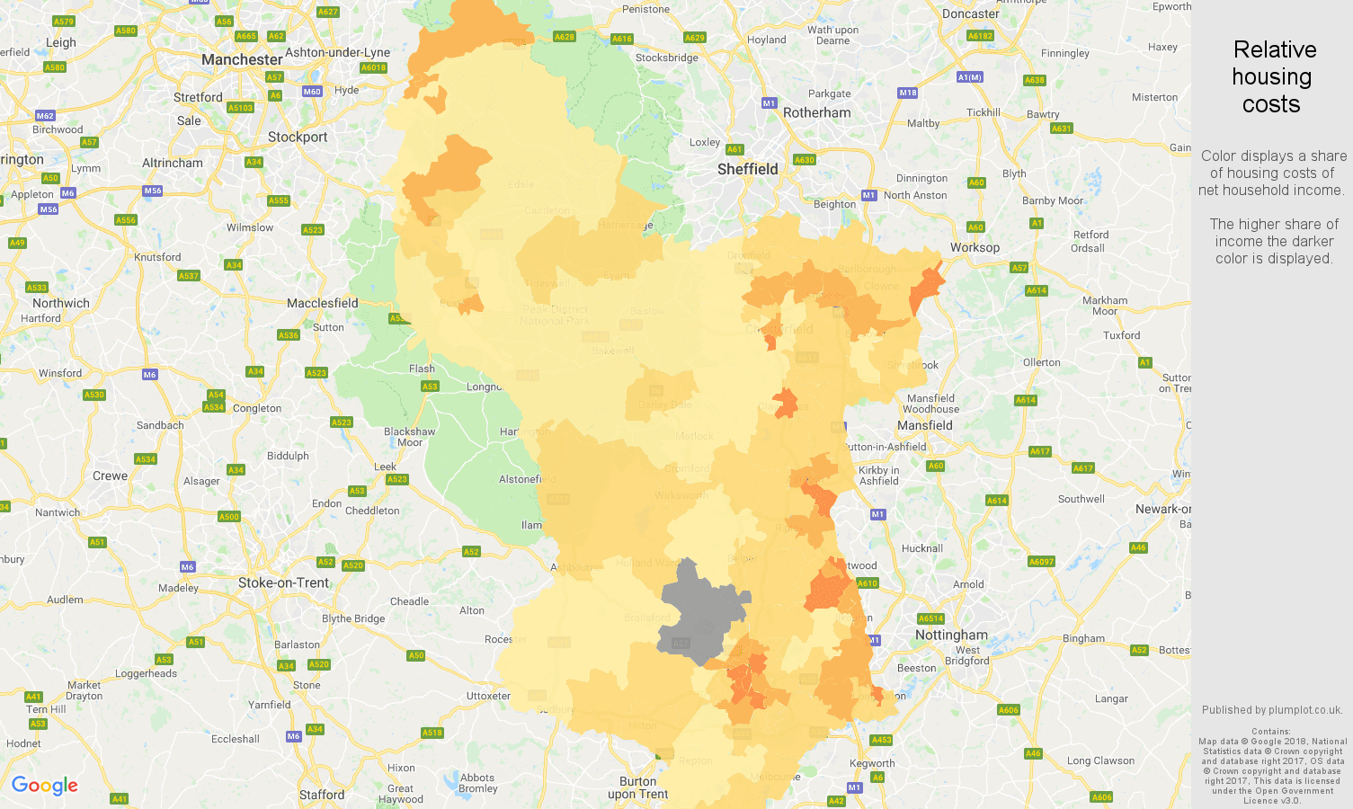 Derbyshire relative housing costs map