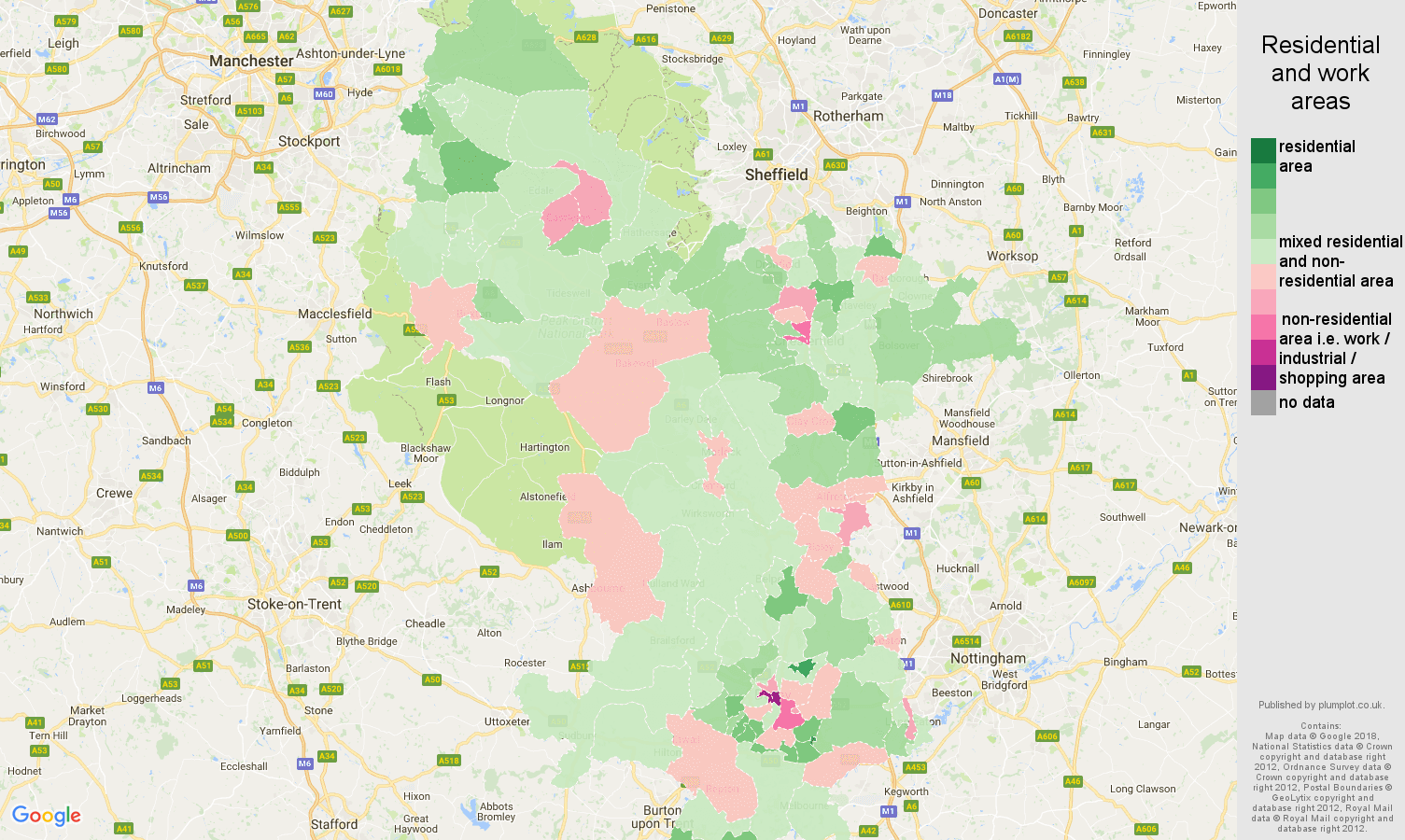 Derbyshire residential areas map