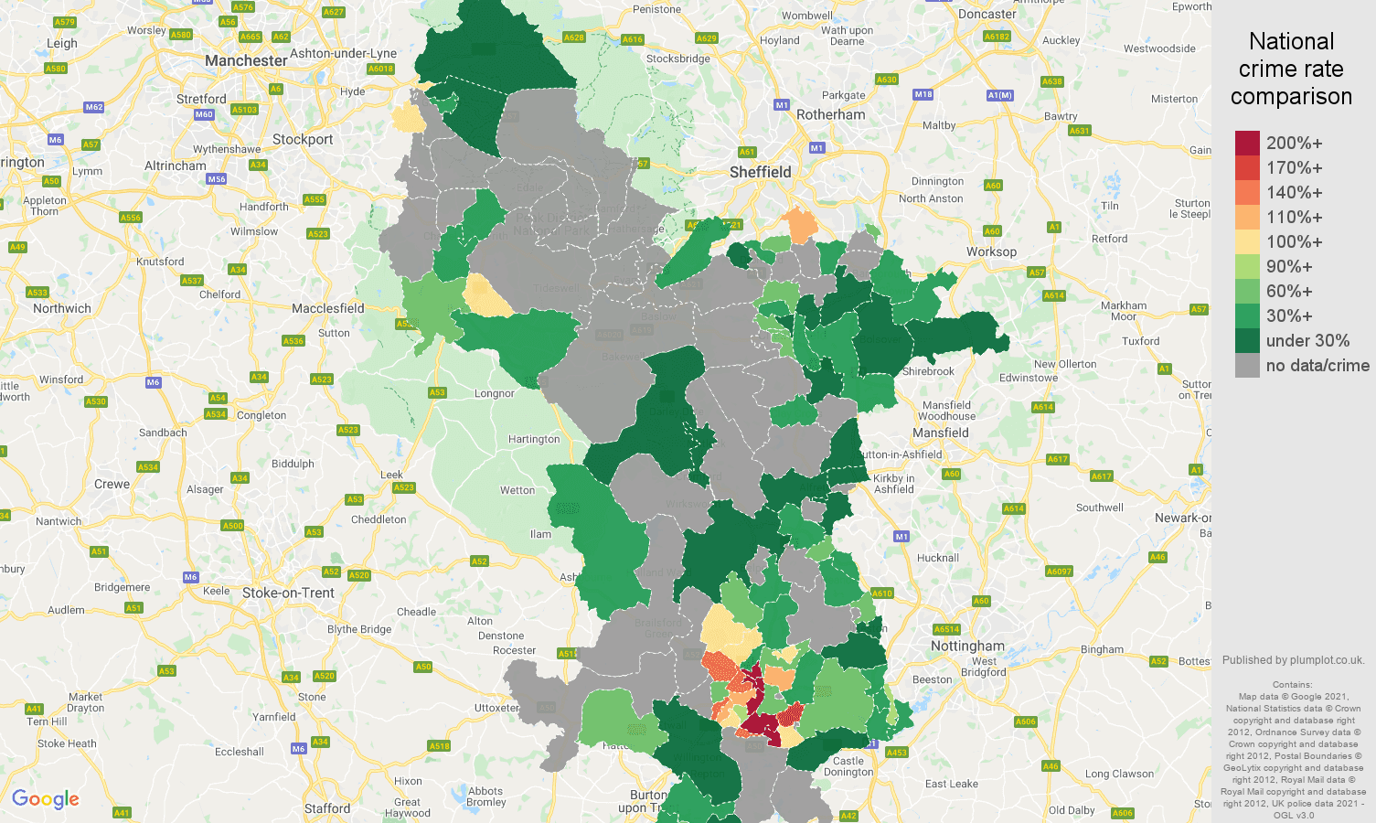 Derbyshire robbery crime rate comparison map