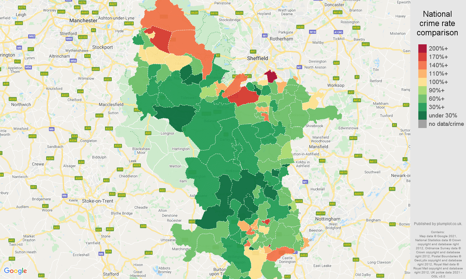 Derbyshire vehicle crime rate comparison map