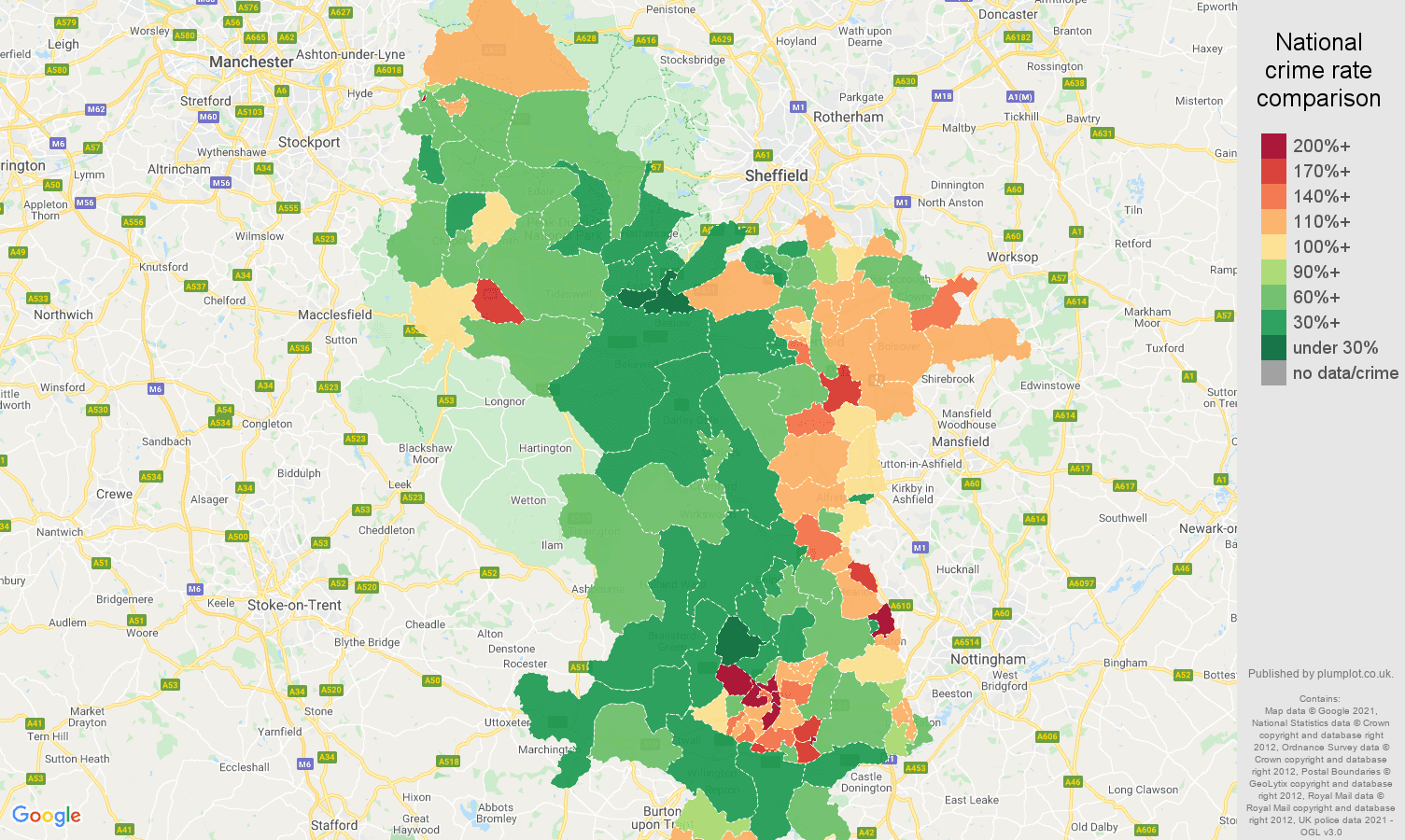 Derbyshire violent crime rate comparison map