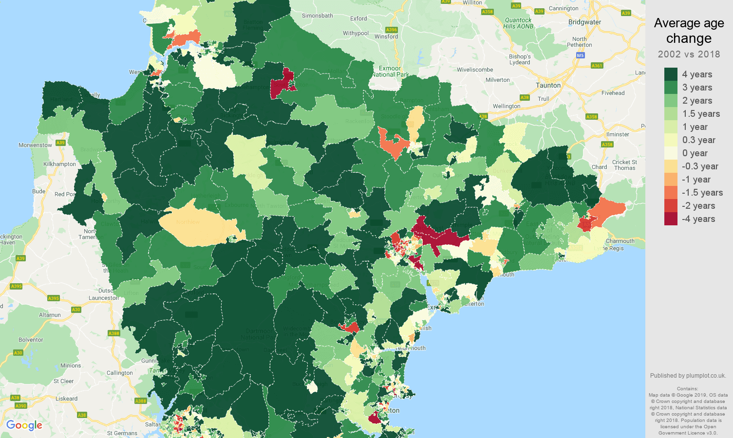 Devon average age change map