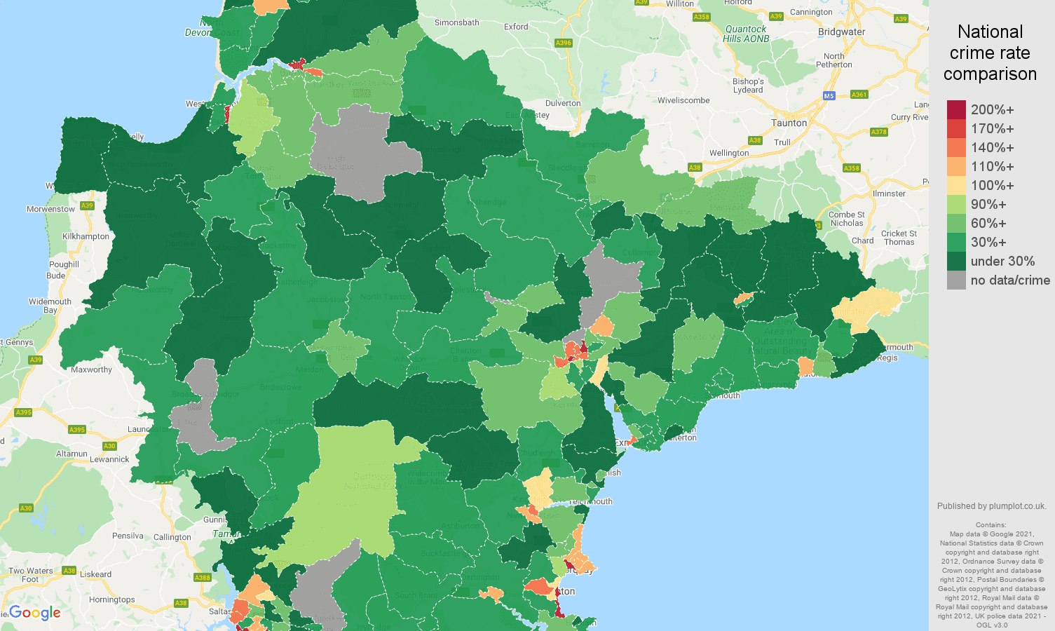 Devon drugs crime rate comparison map