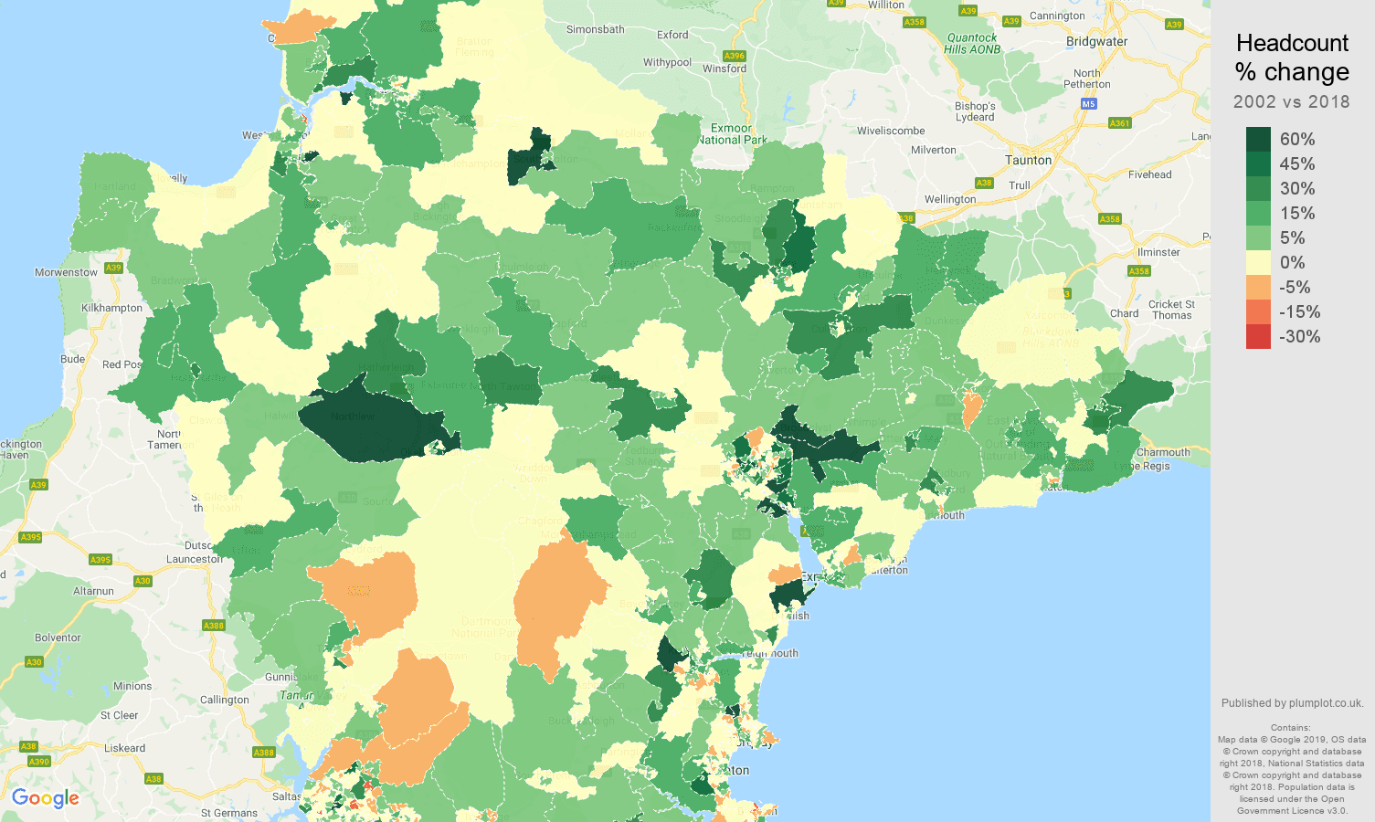 Devon headcount change map