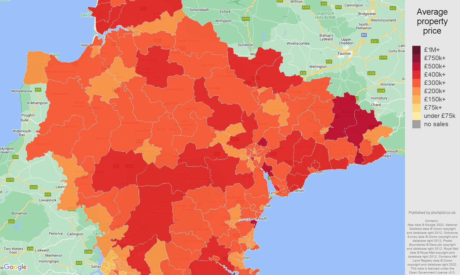 Devon house prices map