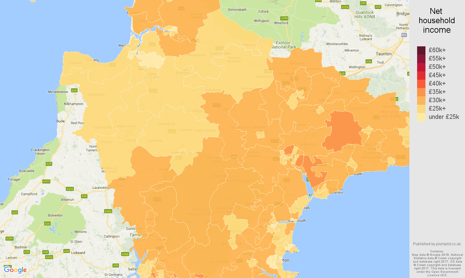 Devon net household income map