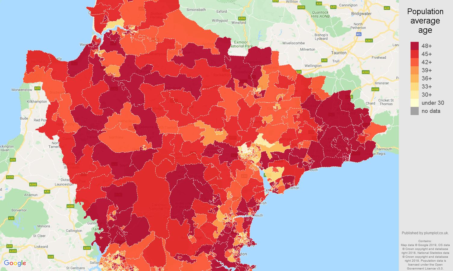 devon population average age map