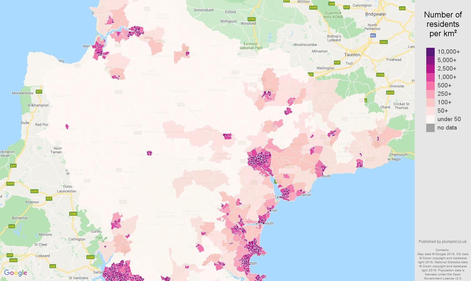 Devon population density map
