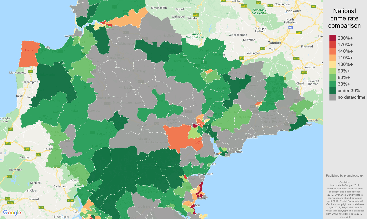 Devon possession of weapons crime rate comparison map