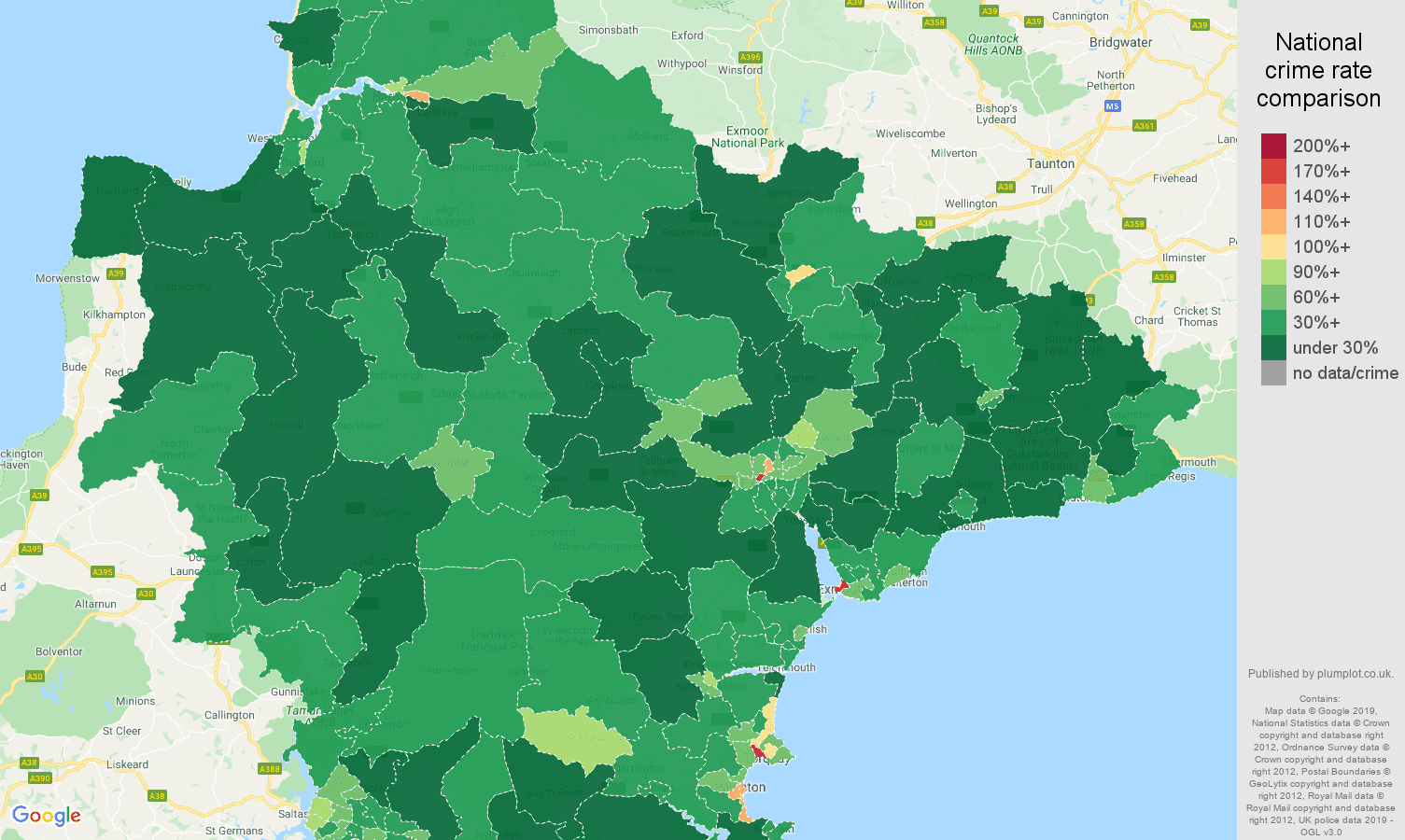 Devon public order crime rate comparison map