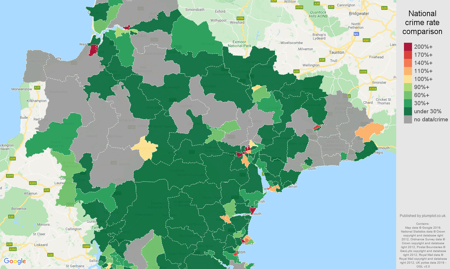 Devon shoplifting crime rate comparison map