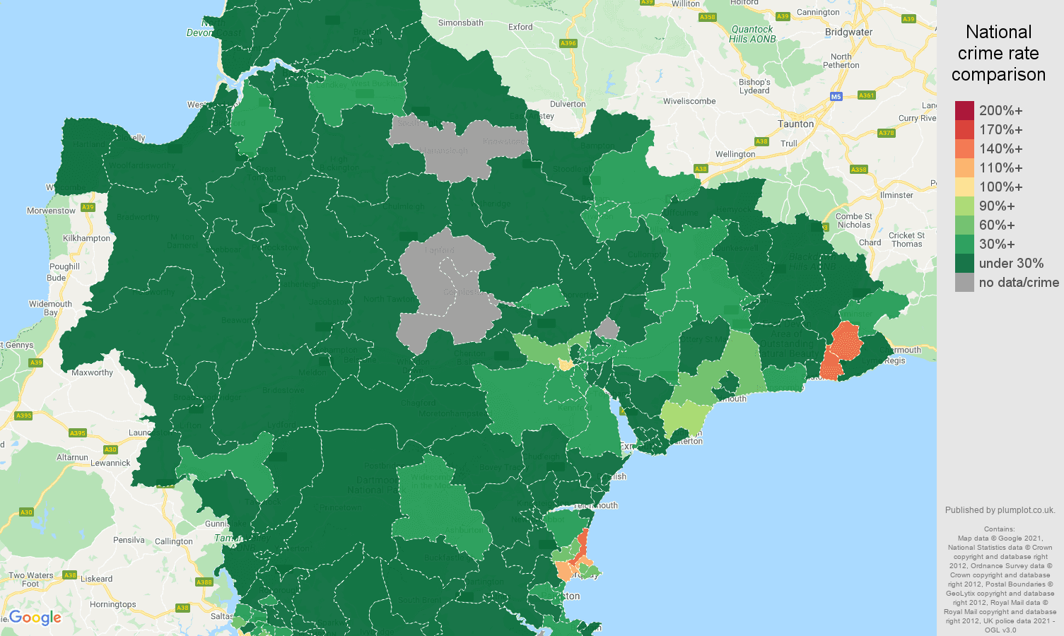 Devon vehicle crime rate comparison map