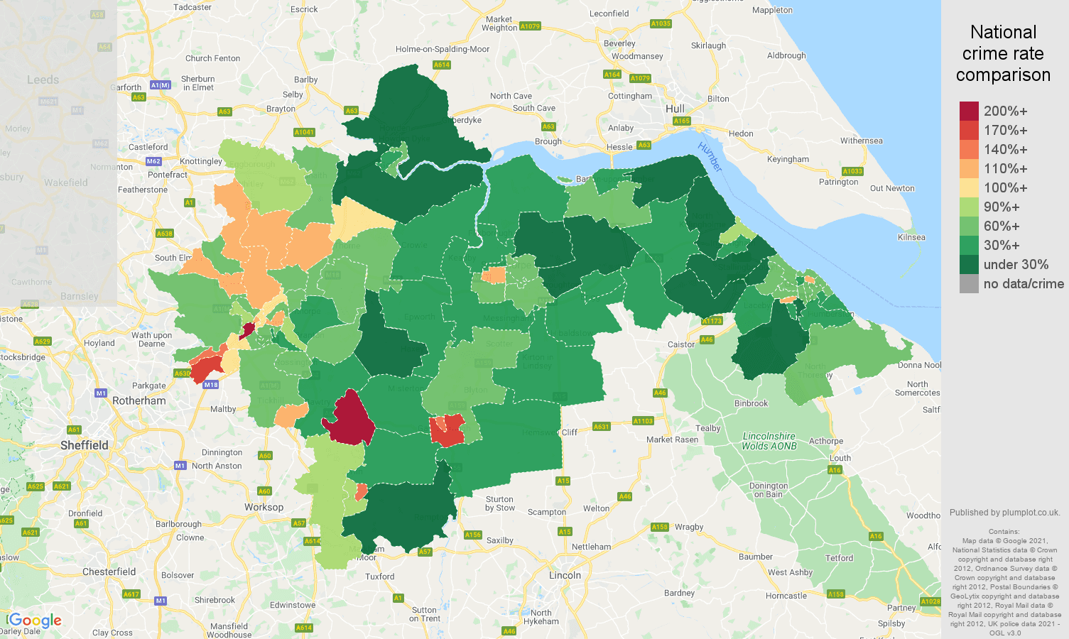 Doncaster antisocial behaviour crime statistics in maps and graphs.