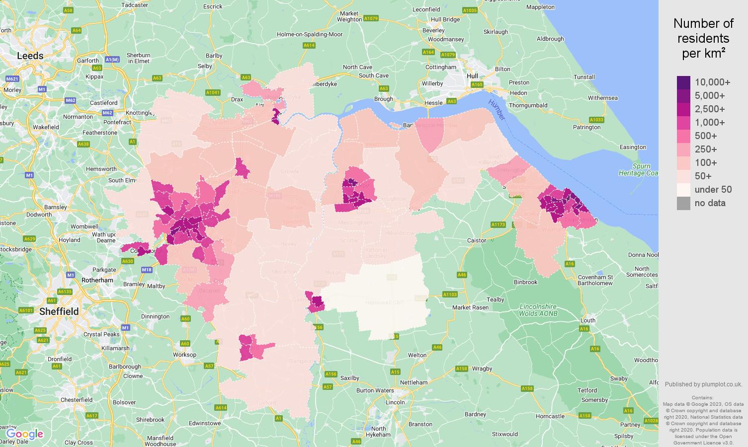 Doncaster population density map