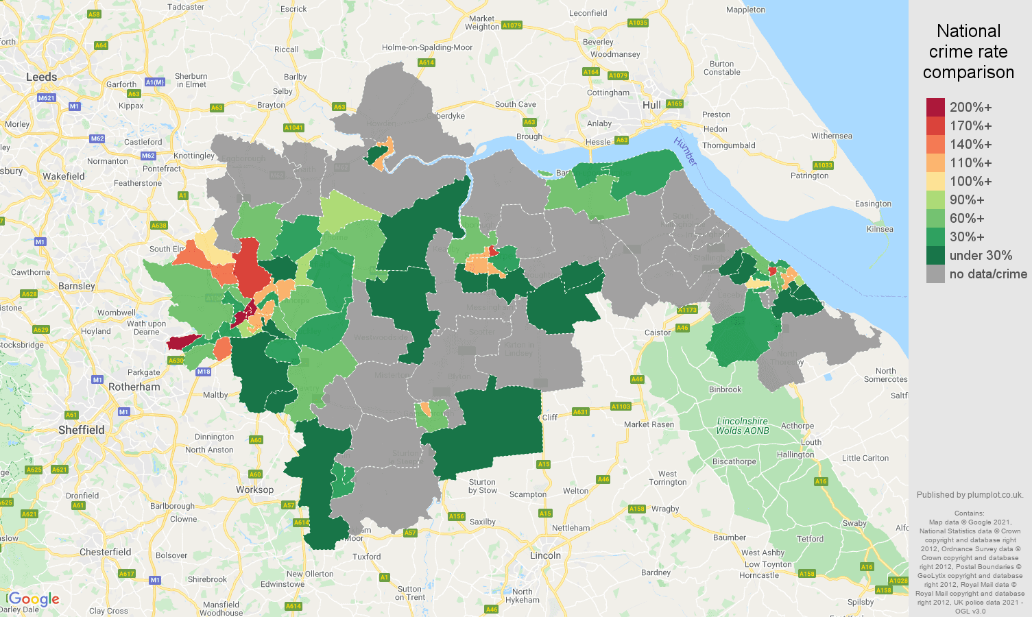 Doncaster robbery crime rate comparison map