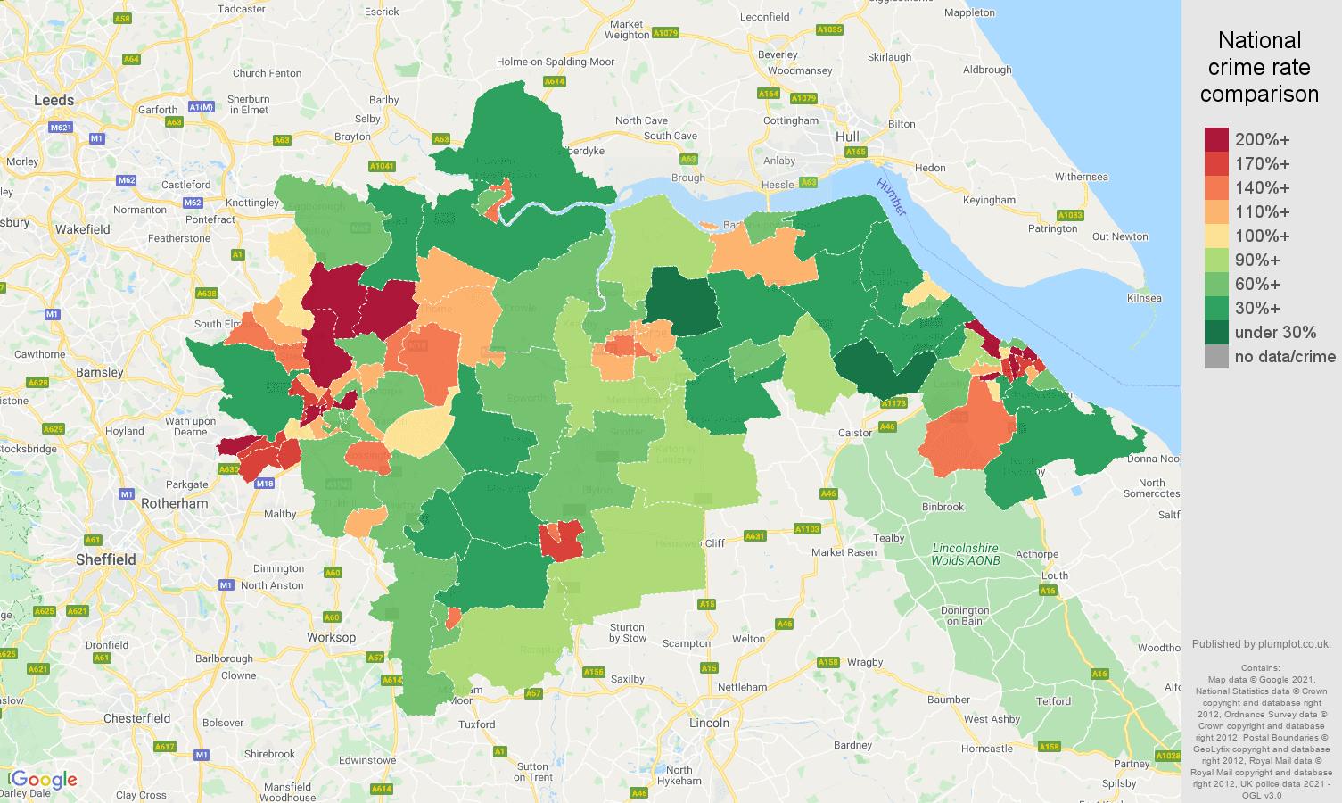Doncaster violent crime rate comparison map