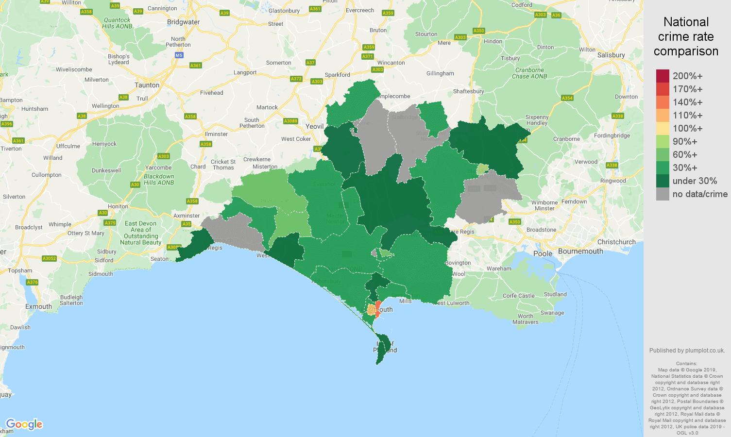 Dorchester possession of weapons crime rate comparison map