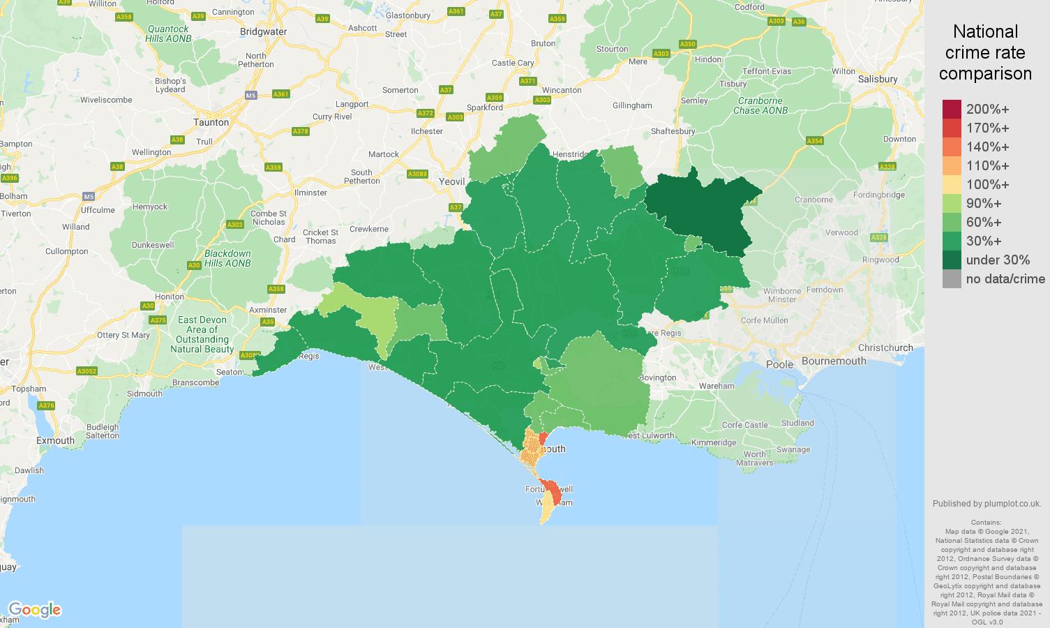 Dorchester violent crime rate comparison map