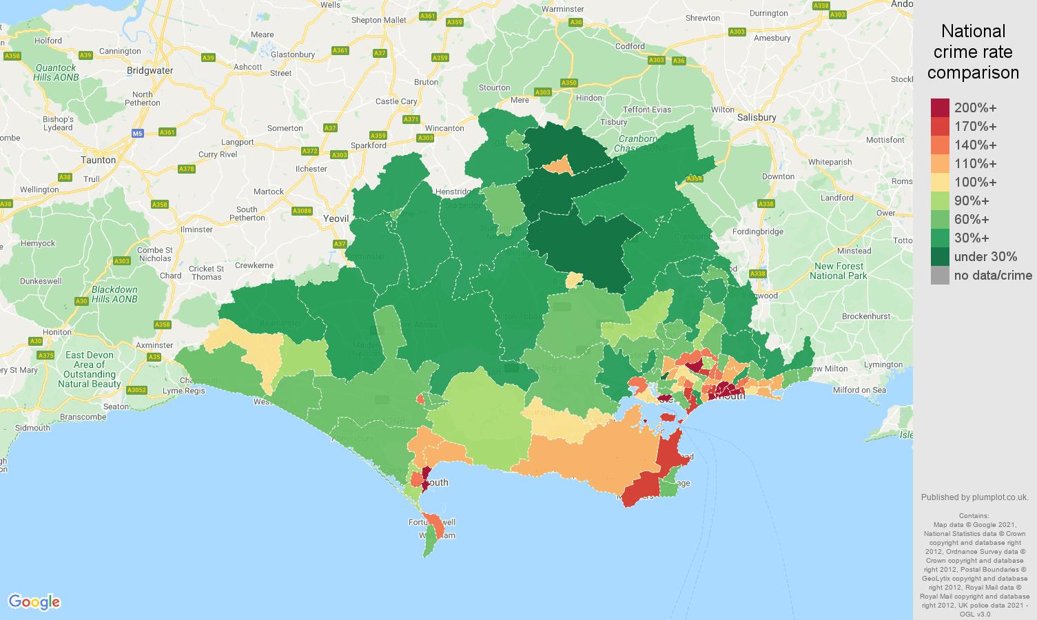 Dorset antisocial behaviour crime rate comparison map