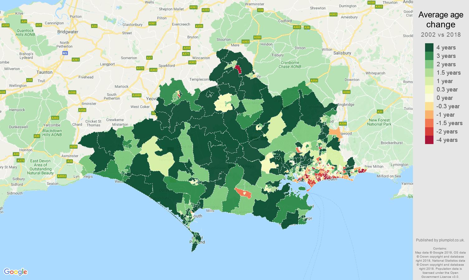 Dorset average age change map