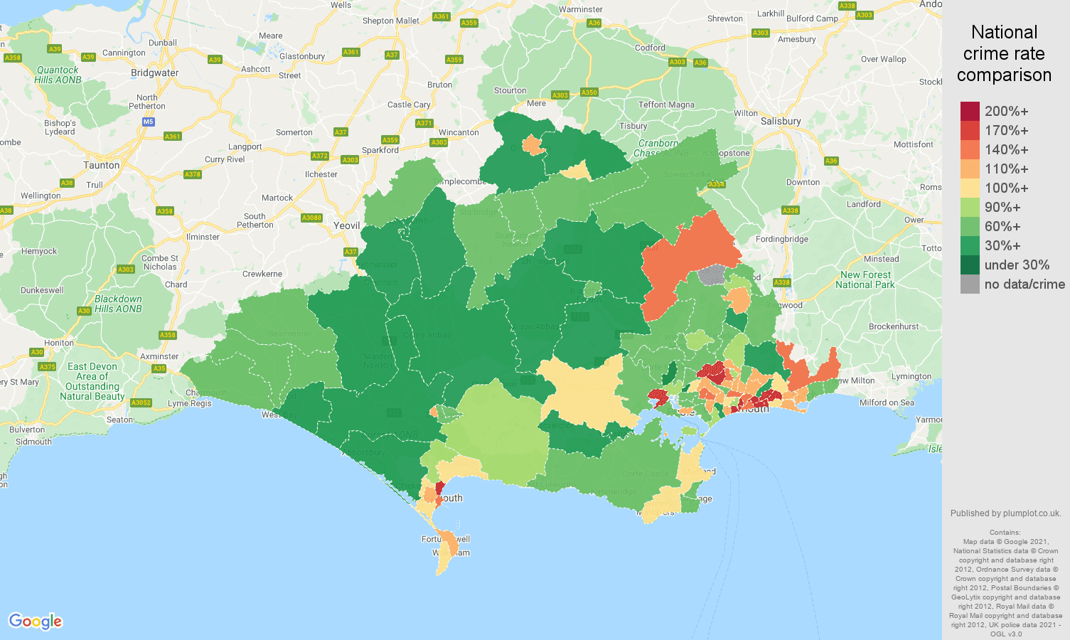 Dorset criminal damage and arson crime rate comparison map