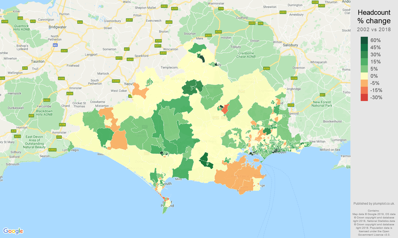 Dorset headcount change map