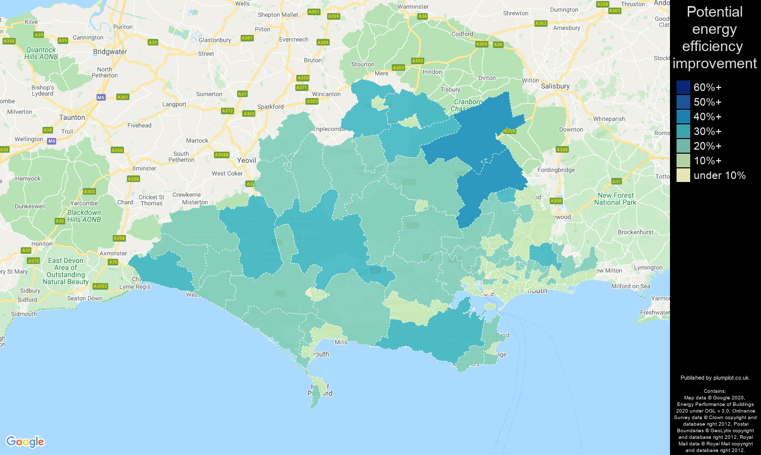Dorset map of potential energy efficiency improvement of properties